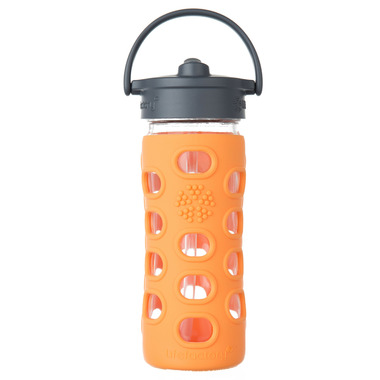 Lifefactory Glass Bottle Straw Cap & Orange Silicone Sleeve