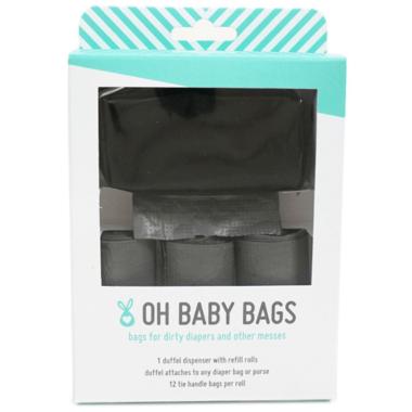 Oh Baby Bags Duffel Dispenser Set Solid Black