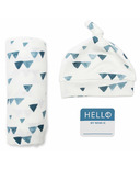 Lulujo Hello World Blanket & Knotted Hat Navy Triangles