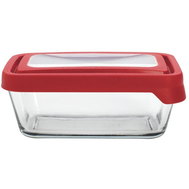 Anchor TrueSeal 4 3/4 Cup Rectangular Storage Container with Red Lid