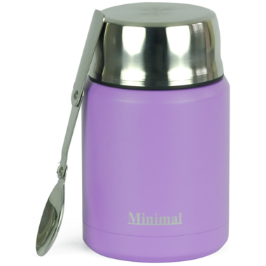 Minimal Insulated Food Jar with Spoon Lavender