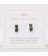 JaxKelly Druzy Bar Black Earrings