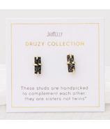 JaxKelly Druzy Bar Black Earrings