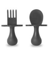 Ensemble cuillère et fourchette Grabease First Gris