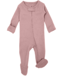L'oved Baby Organic Footed Zipper Jumpsuit Mauve