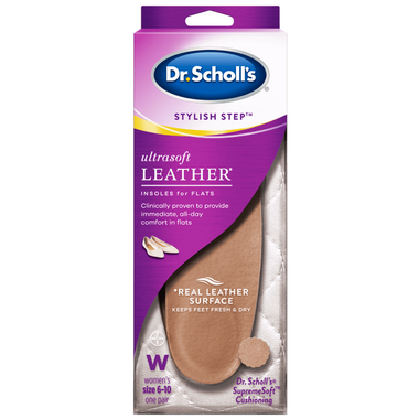Dr. Scholl\'s Stylish Step Ultrasoft Leather Insoles for Flats