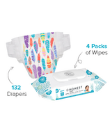 The Honest Company Feather Print Diapers & Wipes Bundle Size 6