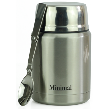 Minimal Insulated Food Jar with Spoon Stainless