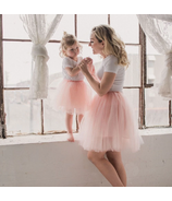 Bluish Classic Mommy & Mini Me Tutu Set Pink