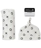Lulujo Baby Hello World Newborn Hat and Swaddle Blanket Set XO