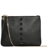 ela Editor's Pouch Star With Chain Pebble Black
