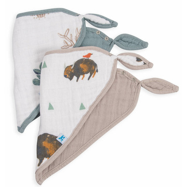 Little Unicorn Cotton Muslin Bandana Bib Set Bison