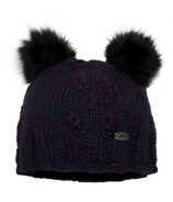 Calikids Iceland Acrylic Knit & Berber Hat with Floral Embroidery Purple