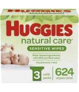 Huggies Natural Care Sensitive Unscented Baby Wipes 3 Refill Packs