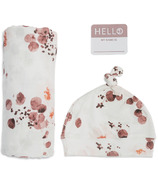 Lulujo Baby Hello World Newborn Hat and Swaddle Blanket Set Eucalyptus