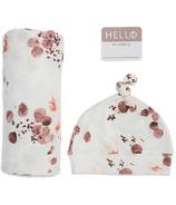 Lulujo Baby Hello World Ensemble bonnet et couverture d'emmaillotage pour nouveau-né Eucalyptus