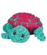 Hugglehounds Plush Durable Rubber Ruff-Tex Turtle Magenta/Green Dog Toy