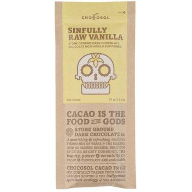 ChocoSol Sinfully Raw Vanilla Stone Ground Dark Chocolate