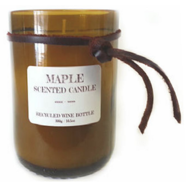 Seracon Maple Recycled Wine Bottle Candle with Cotton Wick