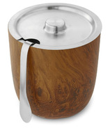 S'well Stainless Steel Ice Bucket & Tongs Teakwood