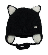 Calikids Iceland Acrylic Knit & Berber Hat with Ears Black