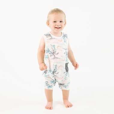Nest Designs Bamboo Sleeveless Romper Crocodile
