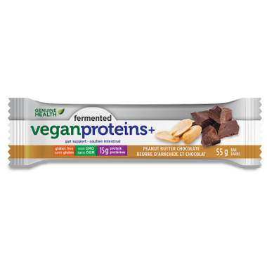 Genuine Health Fermented Vegan Proteins+ Bar Peanut Butter Chocolate