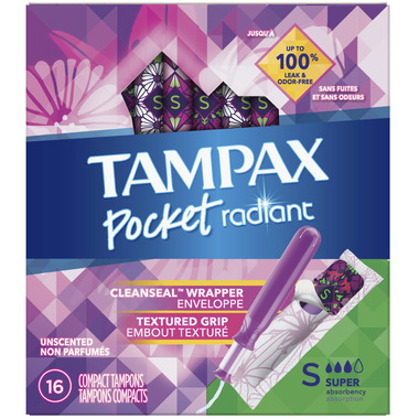 Tampax Pocket Radiant Compact Tampons Super Absorbency Unscented