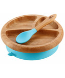 Avanchy Baby Organic Bamboo Stay Put Suction Plate and Spoon Blue