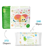 babyganics Size 1 Diaper + Fragrance Free Wipes Bundle