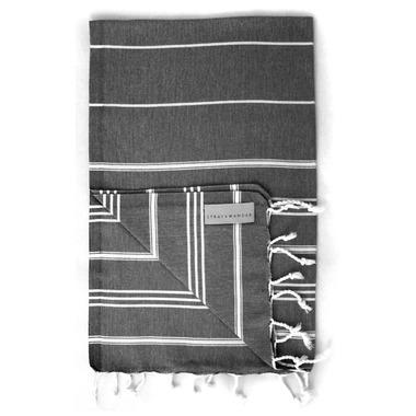 Stray & Wander Marin Turkish Hand Towel Black
