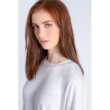 PJ Salvage Colourful Classics Long Sleeve Top Light Grey