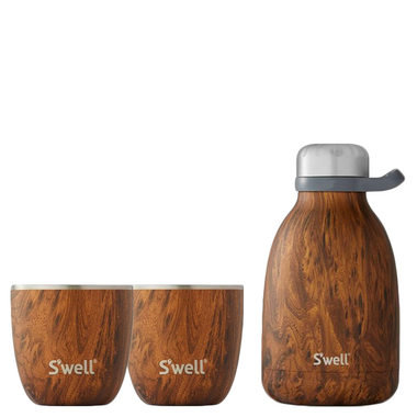 S\'well Teakwood Steel Roamer and Tumbler Bundle