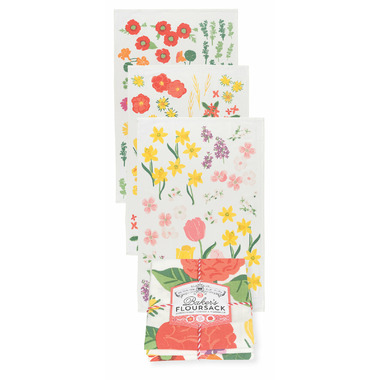 Now Design Tea Towel Bakers Flour Sack Flowers of the Month Set