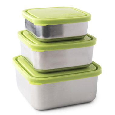 U-Konserve Square Nesting Trio of Stainless Steel Containers in Lime