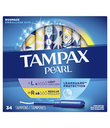 Tampax Pearl Tampons Light/Regular Absorbency with LeakGuard Braid
