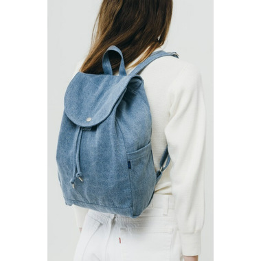 Baggu Drawstring Backpack in Washed Denim