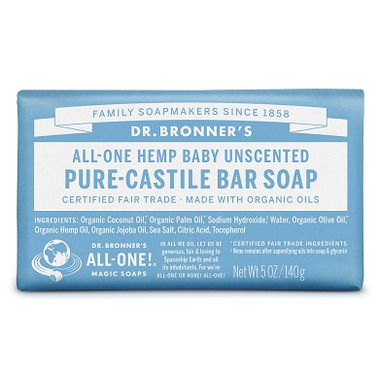 Dr. Bronner\'s Pure Castile Bar Soap Baby Unscented