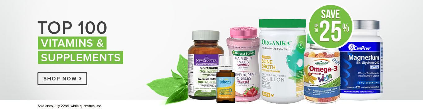 Save up to 25% on our Top 100 Vitamins & Supplements