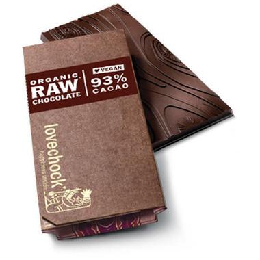 LoveChock 93% Raw Organic Dark Chocolate Bar