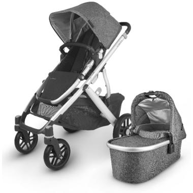 UPPAbaby VISTA V2 Stroller Jordan Charcoal Melange Silver Black Leather