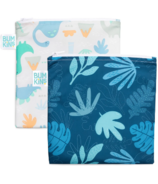 Bumkins Reusable Snack Bag Large Dino & Blue Tropics
