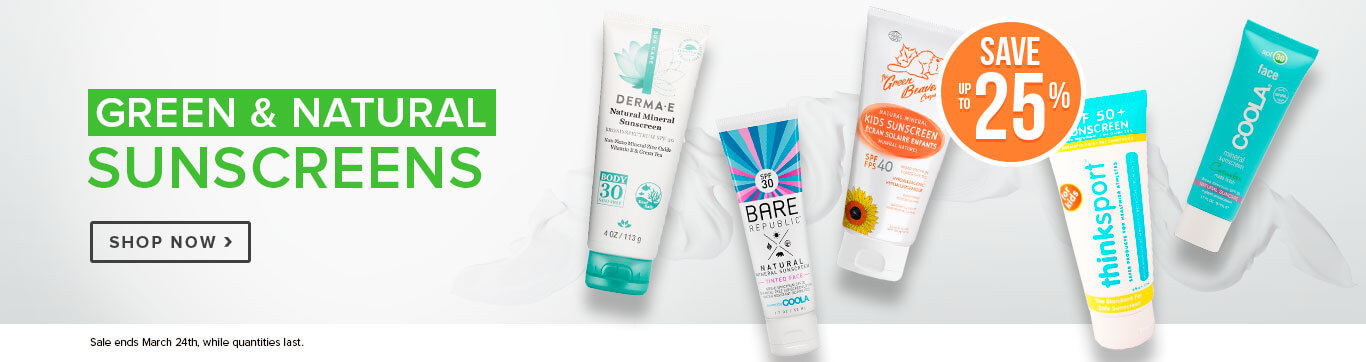 Save up to 25% on Green & Natural Sunscreens