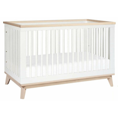 Babyletto Scoot 3-in-1 Convertible Crib White and Washed Natural