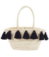 Mud Pie Black Tassel Straw Tote Bag