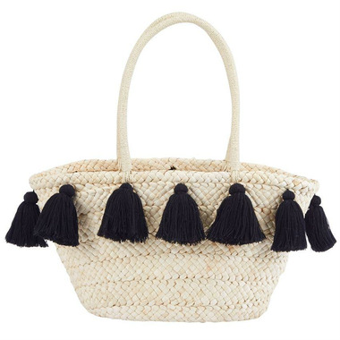 Mud Pie Black Tassel Straw Tote Bag