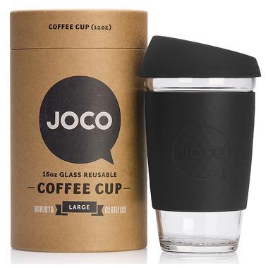 JOCO Glass Reusable Coffee Cup in Black