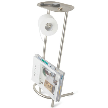 Umbra Valetto Toilet Paper Stand and Magazine Rack Nickel