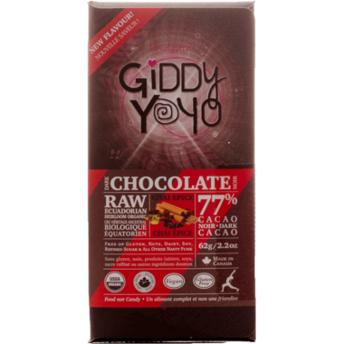 Giddy Yoyo Raw Organic Chocolate Bar Chai Spice