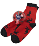 Hatley Little Blue House Men's Socks in Ornament Moose on Red